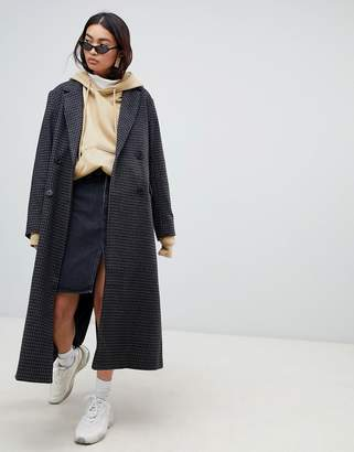 Weekday Long Wool Check Coat