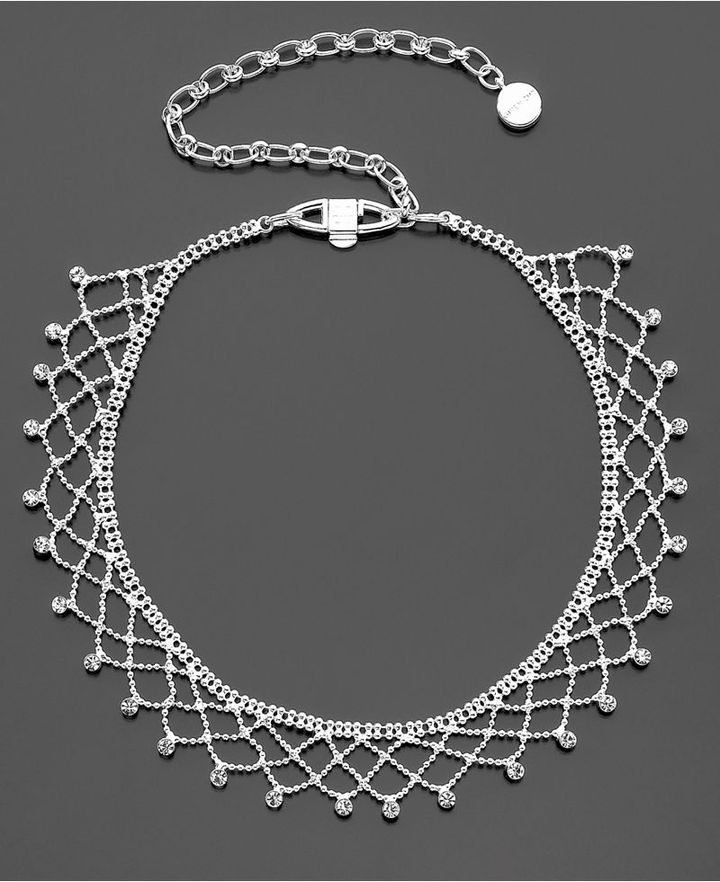 Givenchy Necklace, Silvertone Crystal Choker