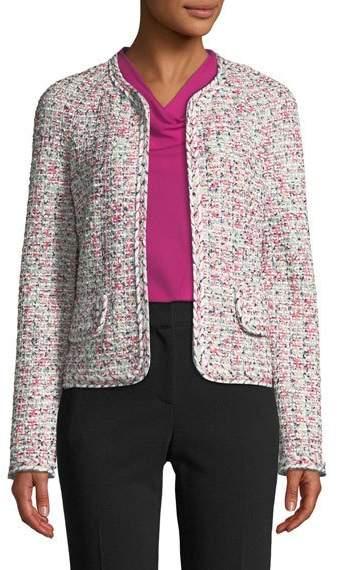 Modern Pointelle Tweed Knit Jacket w/ Braided Trim
