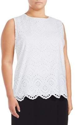 Calvin Klein Plus Sleeveless Laser-Cut Cotton Top