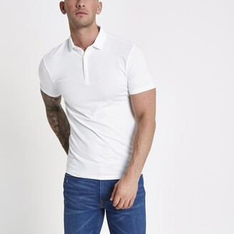River Island Mens White essential muscle fit polo shirt