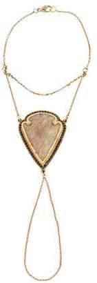 Pamela Love 18K Jasper & Black Diamond Arrowhead Hand Chain
