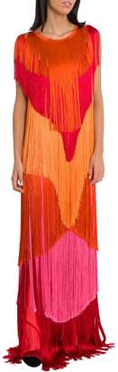 Alberta Ferretti Satin Fringe Dress