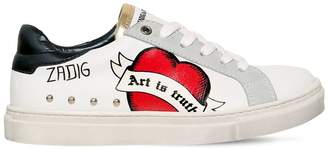 Zadig & Voltaire Leather & Suede Graffiti Sneakers