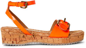 Stella McCartney Toddler/Kids Girls) Neon Orange Linda Patent Wedge Sandals
