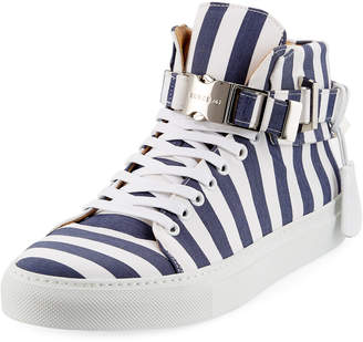 Buscemi Men's 100mm Striped Canvas High-Top Sneakers, Blue Ink