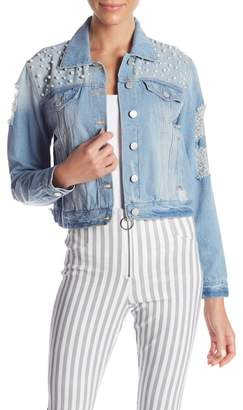 Romeo & Juliet Couture Distressed Pearl Embellished Denim Jacket