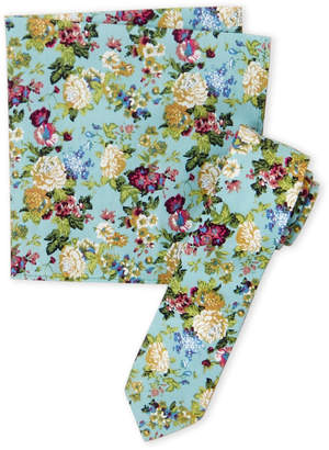 Original Penguin Aqua Ashwood Floral Tie & Pocket Square Set