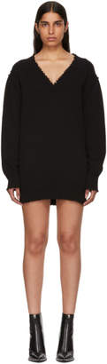 Alexander Wang Black Distressed V-Neck Sweater Dress