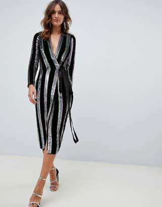43e353da3b Asos Design DESIGN wrap midi dress in velvet stripe sequin