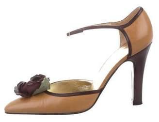 Dolce & Gabbana Floral Ankle-Strap Pumps