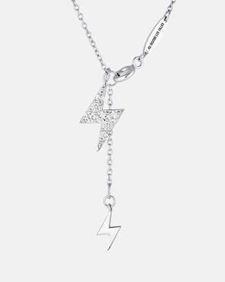 Lightning Bolt LUMIERE PAVE Diamond Silver Fine Necklace
