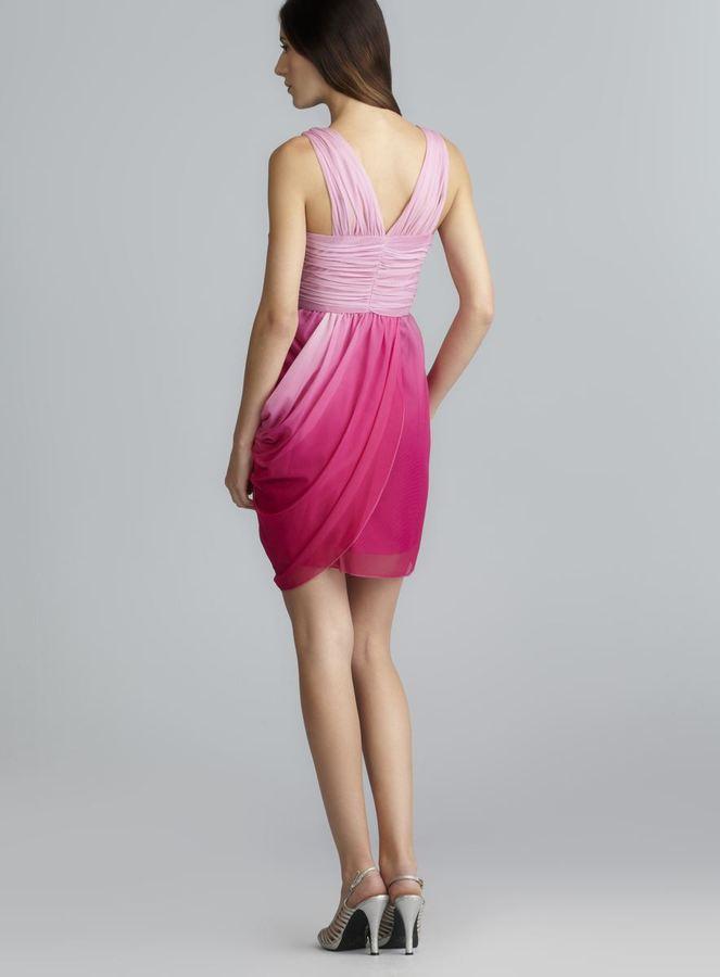 Max & Cleo Laura Side Draped Iridescent Mesh Dress