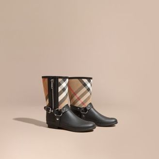 Burberry Buckle and Strap Detail Check Rain Boots $295 thestylecure.com