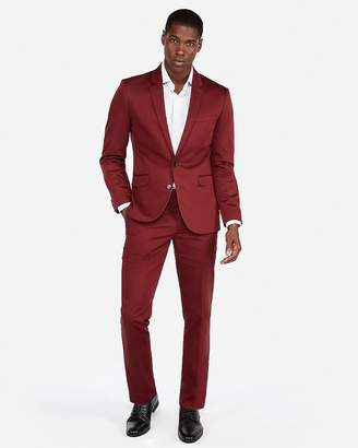 Express Extra Slim Burgundy Cotton Sateen Stretch Suit Pant