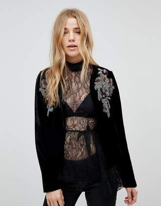 New Look Embellished Velvet Crop Jacket