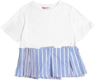 Marni Junior Cotton Jersey T-Shirt W/ Poplin Detail