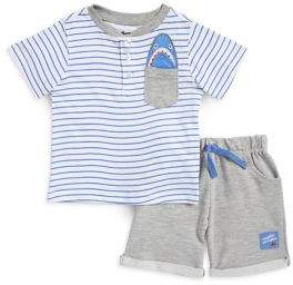 Nannette Baby Boy's Two-Piece Stripe Top and Shorts Set