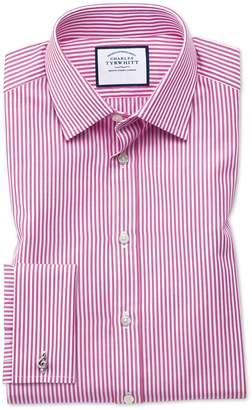 Charles Tyrwhitt Classic Fit Bengal Stripe Pink Cotton Dress Shirt French Cuff Size 16/33