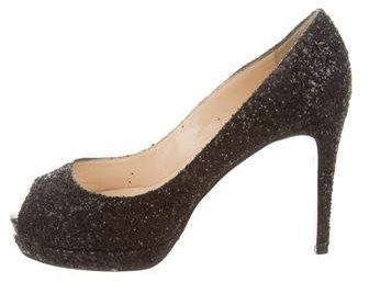 Christian Louboutin  Christian Louboutin Strass Lady Peep Pumps
