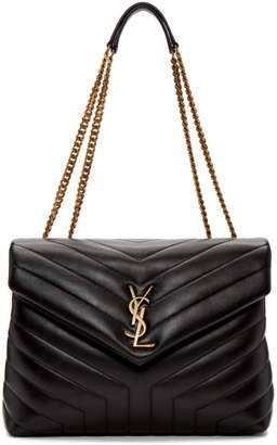 Saint Laurent Black and Gold Medium Loulou Chain Bag