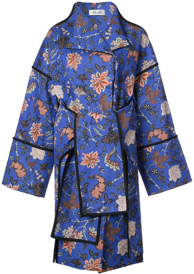 Diane von Furstenberg contrast piping oversized coat