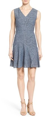 Elie Tahari 'Elliot' Floral Jacquard Fit & Flare Dress $398 thestylecure.com