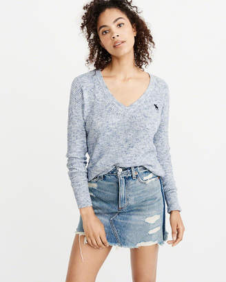 Abercrombie & Fitch Icon V-Neck Ribbed Sweater