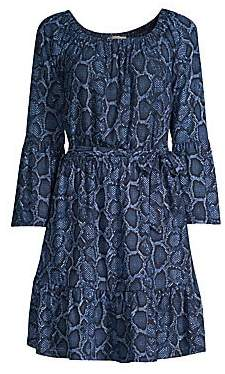 e0e830e7538f MICHAEL Michael Kors Women s Python Print Bell Sleeve Dress
