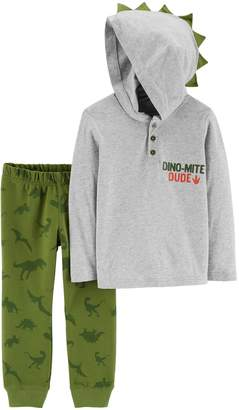 Carter's Toddler Boy Dinosaur 3-D Spikes Hooded Henley Top & Jogger Pants Set