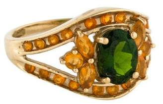 Ring 14K Diopside And Fire Opal Cocktail w/ Tags