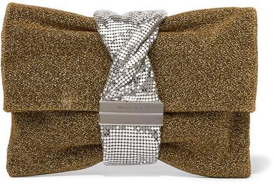 Jimmy ChooJimmy Choo - Chandra Chainmail-paneled Lurex Shoulder Bag - Gold