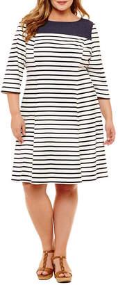 Studio 1 3/4 Sleeve Stripe Shift Dress - Plus
