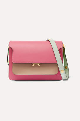 Marni Trunk Small Color-block Textured-leather Shoulder Bag - Pink