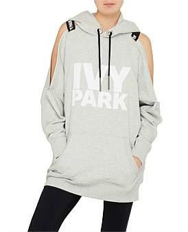 Ivy Park Cold Shoulder Logo Strap Hoodie