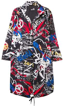 Love Moschino graffiti logo parka coat