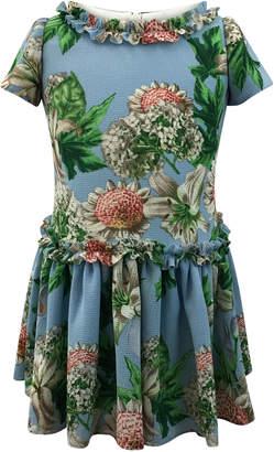 Helena Floral Ruffle-Trim Short-Sleeve Dress, Size 12-18 Months