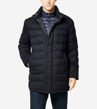 Cole Haan Flannel Down Stand Collar Coat