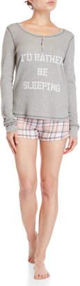 PJ Salvage Two-Piece Long Sleeve Top & Short PJ Set