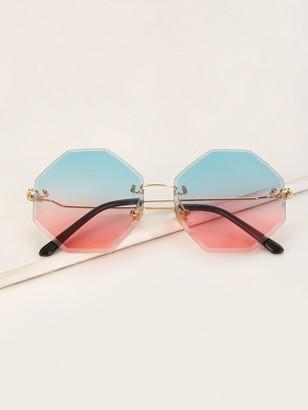 Shein Ombre Lens Rimless Sunglasses
