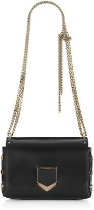 Jimmy Choo LOCKETT PETITE Black and Chrome Spazzolato Leather Shoulder Bag
