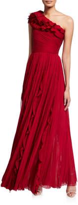 J. Mendel Silk Pleated One-Shoulder Ruffled Gown