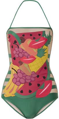 Charlotte Olympia Adriana Degreas Tutti Frutti Appliquéd Tulle-paneled Halterneck Swimsuit - Green