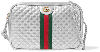 Gucci Metallic Quilted Leather Shoulder Bag - Silver
