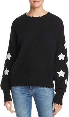 AQUA Cashmere Star-Sleeve Distressed Cashmere Sweater - 100% Exclusive