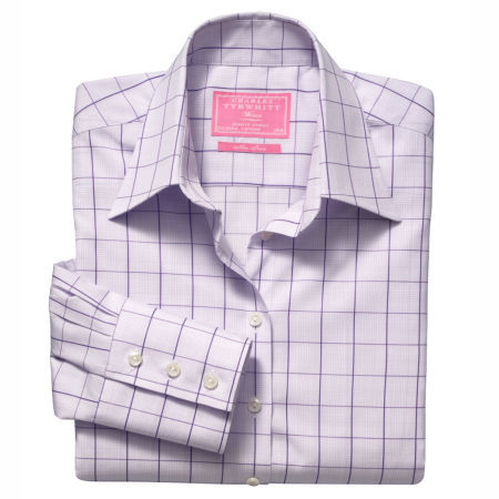 Purple Prince of Wales check non-iron classic shirt