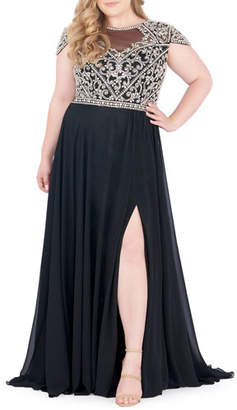 Mac Duggal Boat-Neck Embellished Cap-Sleeve Gown, Plus Size