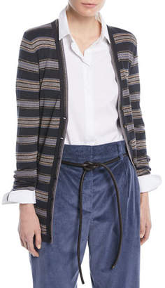 Brunello Cucinelli Metallic Striped Wool-Cashmere Cardigan