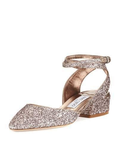 Jimmy ChooJimmy Choo Vicky Glitter Ankle-Wrap Ballerina Flat, Tea Rose