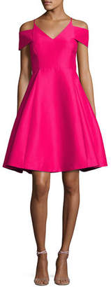Halston Sleeveless Split-Neck A-line Cocktail Dress